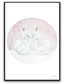 Princess swans - A4 matt fotopapper