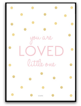 You are loved little one - Rosa/guld A4 matt fotopapper
