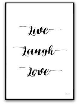 Poster - Live, laugh, love - A4 matt fotopapper