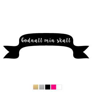 Wall stickers - Banderoll, Godnatt min skatt - Svart