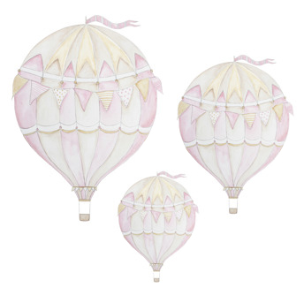 Wall stickers - Pink air balloon - 3-pack