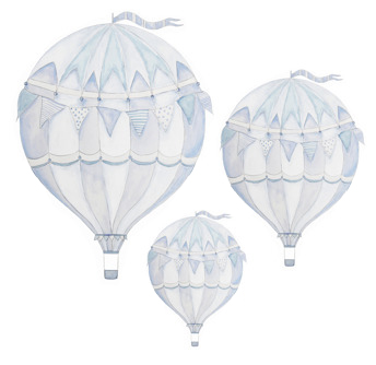 Wall stickers - Blue air balloon - 3-pack