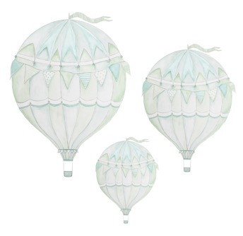 Wall stickers - Green air balloon - 3-pack