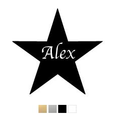 Wall stickers - Stjärna med valfri text - Svart 10cm