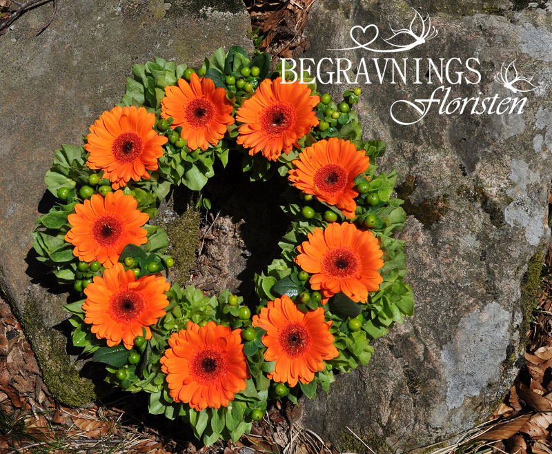 Begravningskrans-orange-gerbera