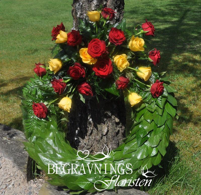 begravningskrans-röda-gula-rosor