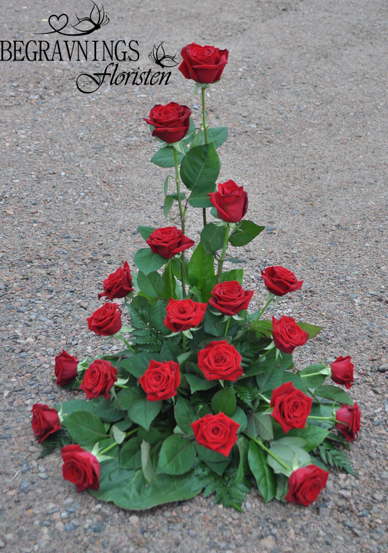 Begravningsblommor-röda-rosor