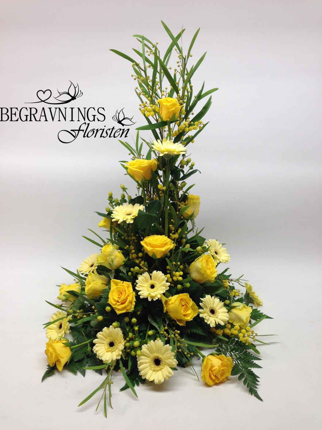 begravningsblommor-gult-rosor