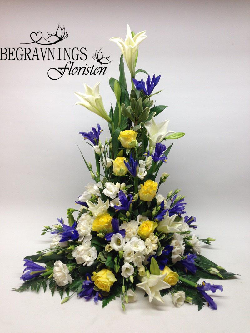 blommor-begravning-gult-blått-vitt