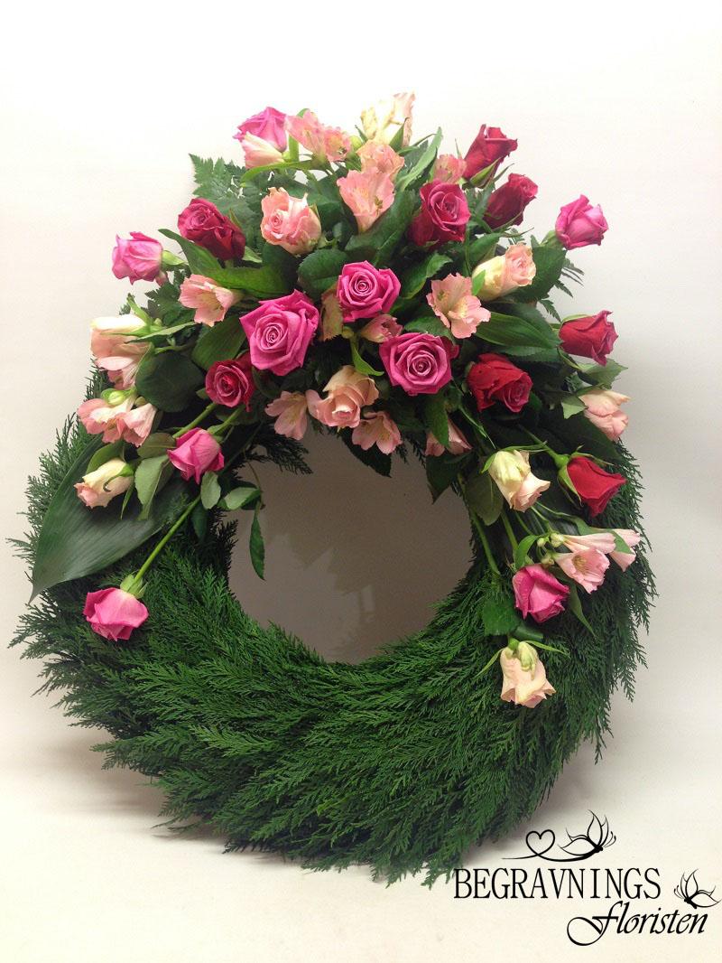 krans rosa rosor