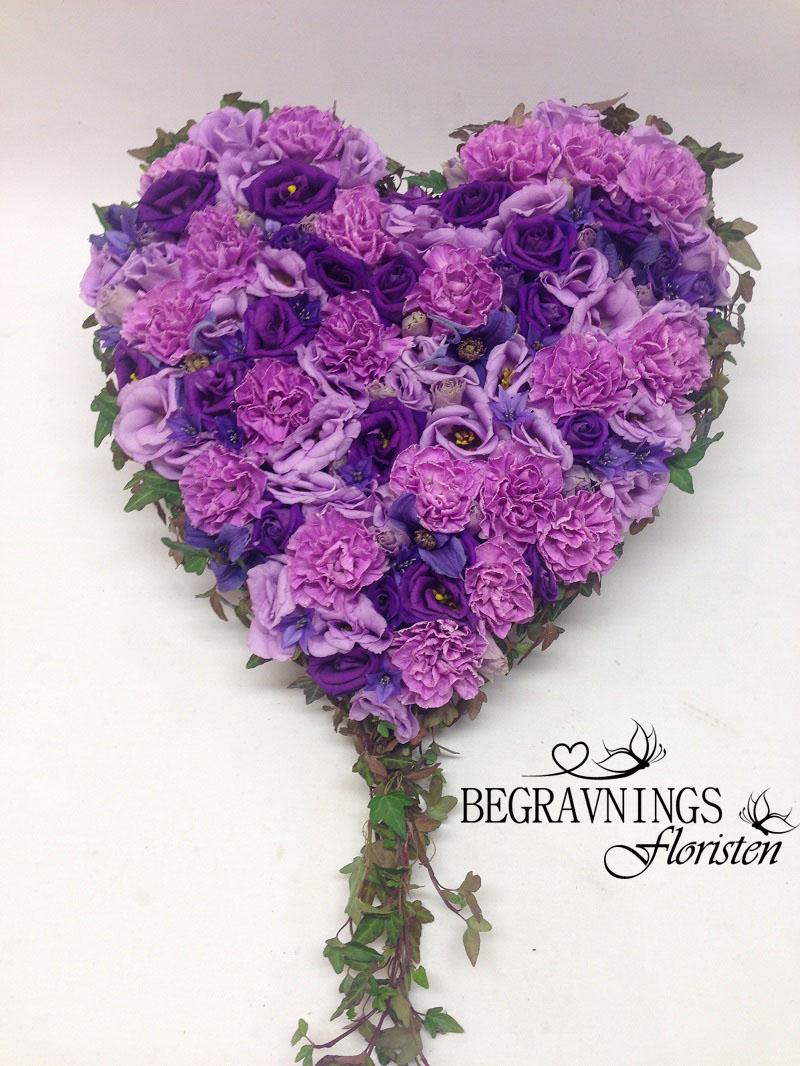 hjärta lila blommor