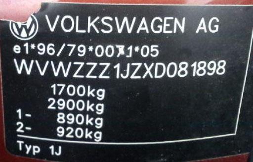 Etikett Chassinr o vikt VW