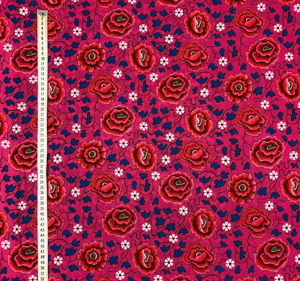 holiday mönstrad viskos ceris rosa bård multi färgglad
