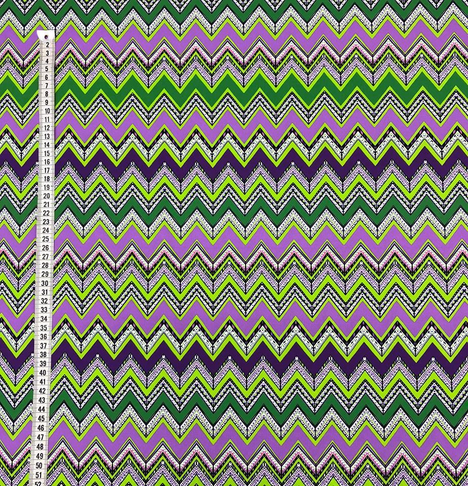 zig-zag tyg metervara badräkt elastan lila grön