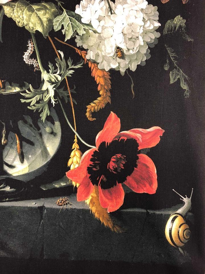 blomvasen metervara blommor mönsterrapport oljemålning