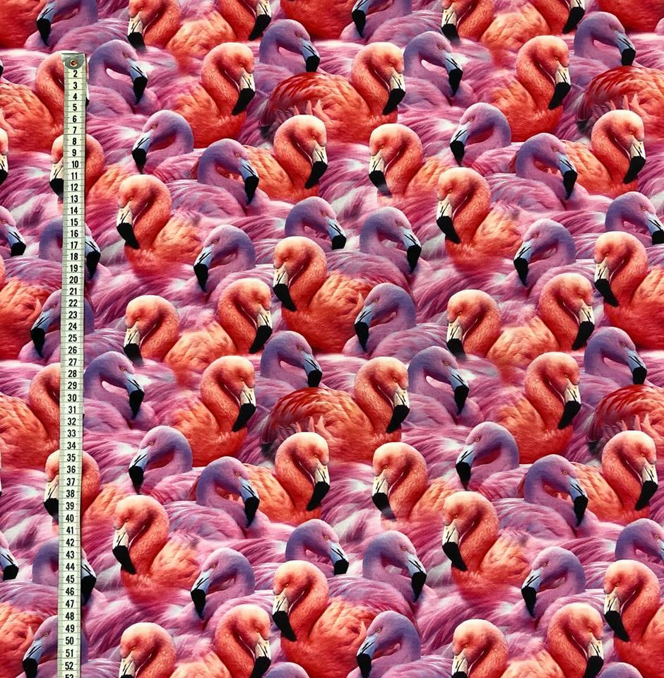 flamingoflock trikåtyg metervara ros cerise flamingo