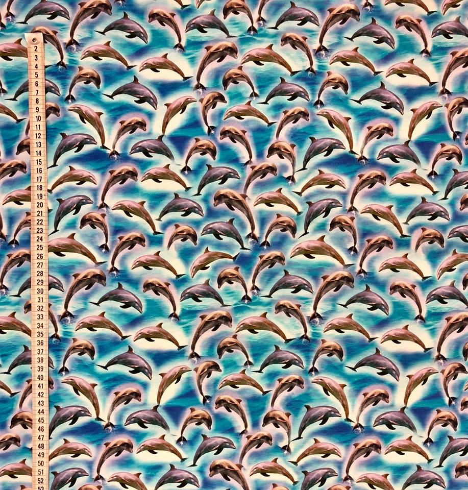 blå delfin trikåtyg metervara