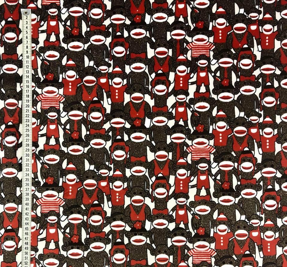apor i rött metervara minky röd brun vit