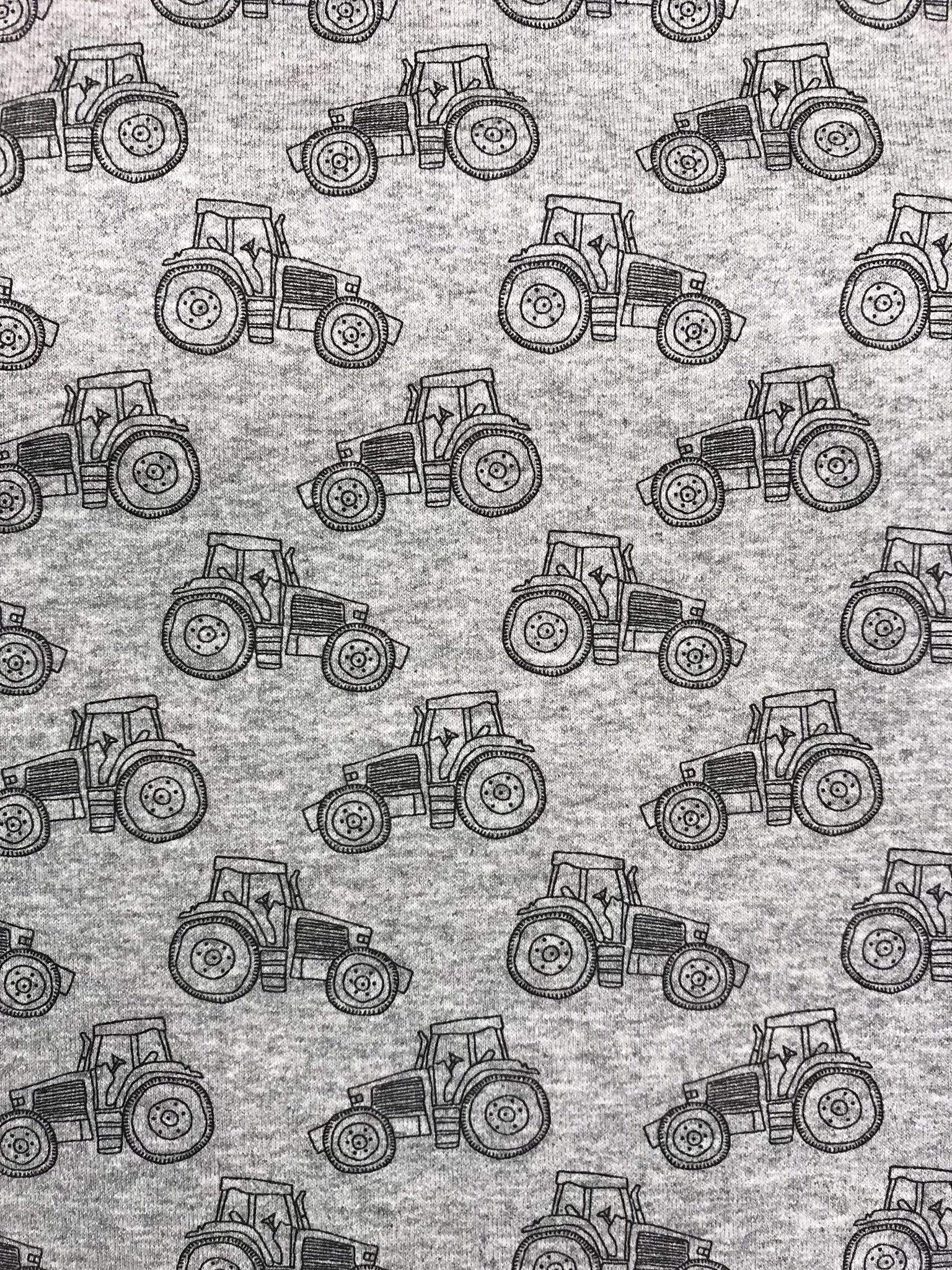 liten traktor trikåtyg metervara gråmelerad