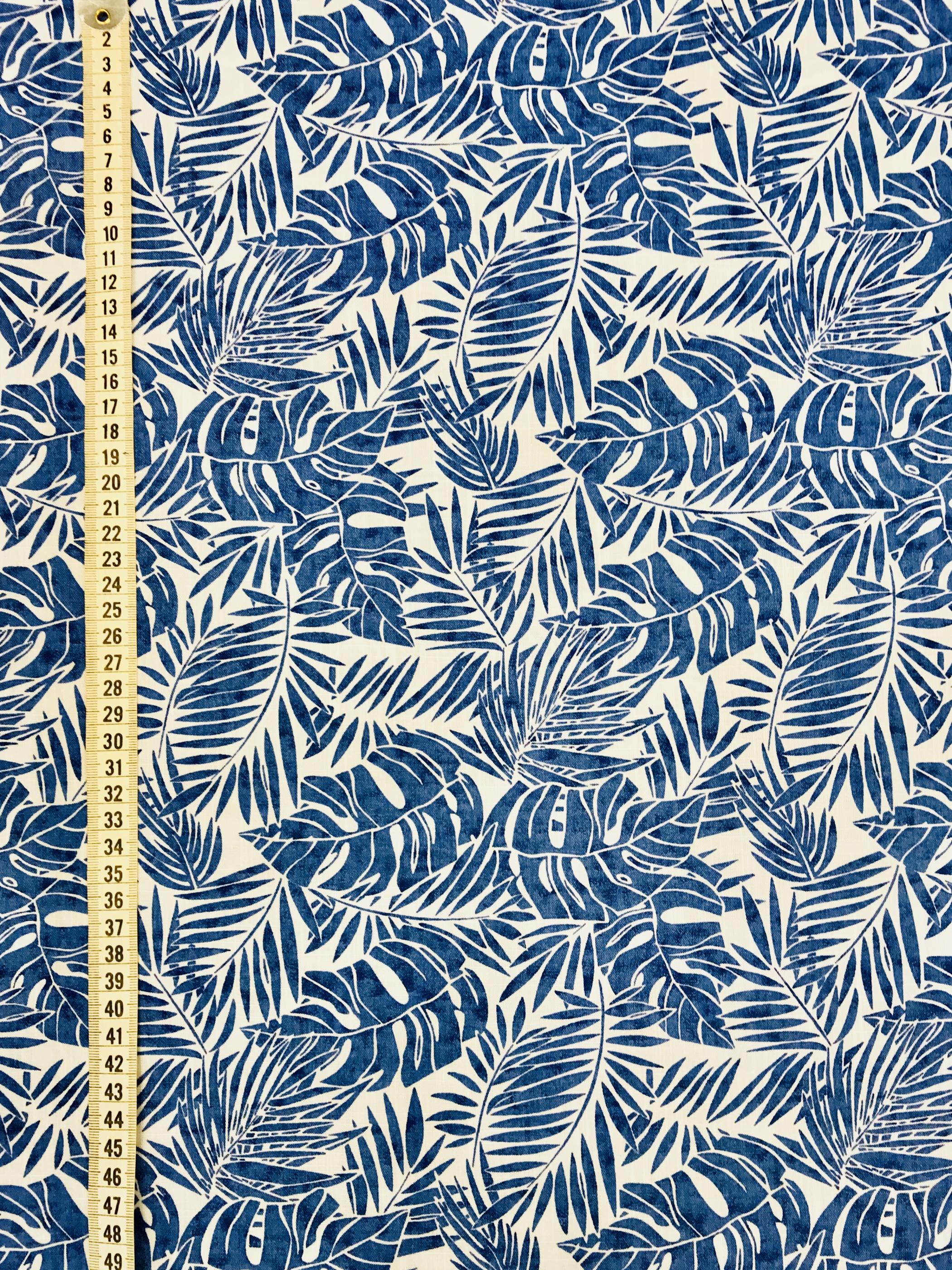 blå blad bomull metervara sommar mönstrat tyg