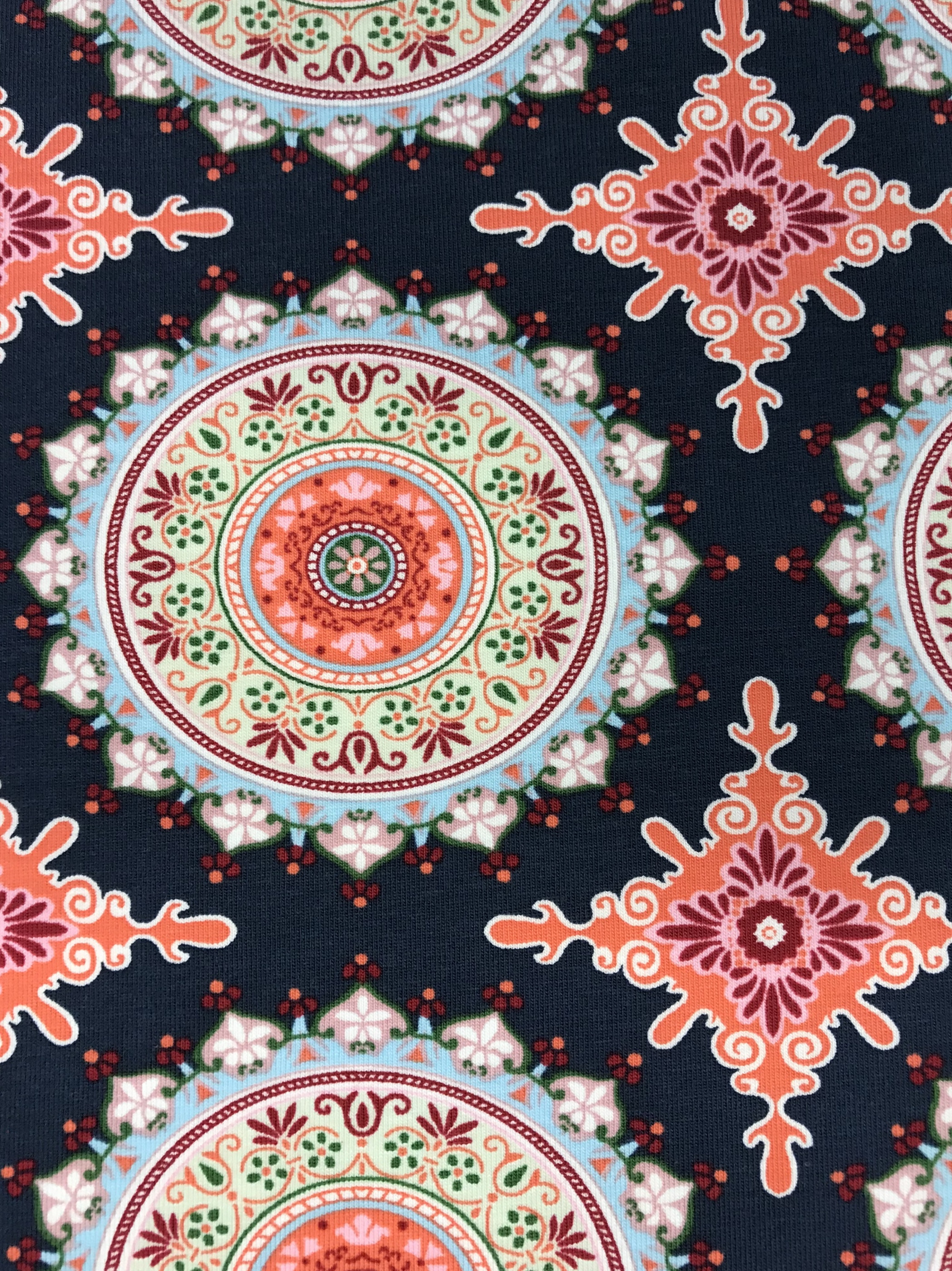 Mandala bomullstrikå marinblå rosa orange metervara tyg