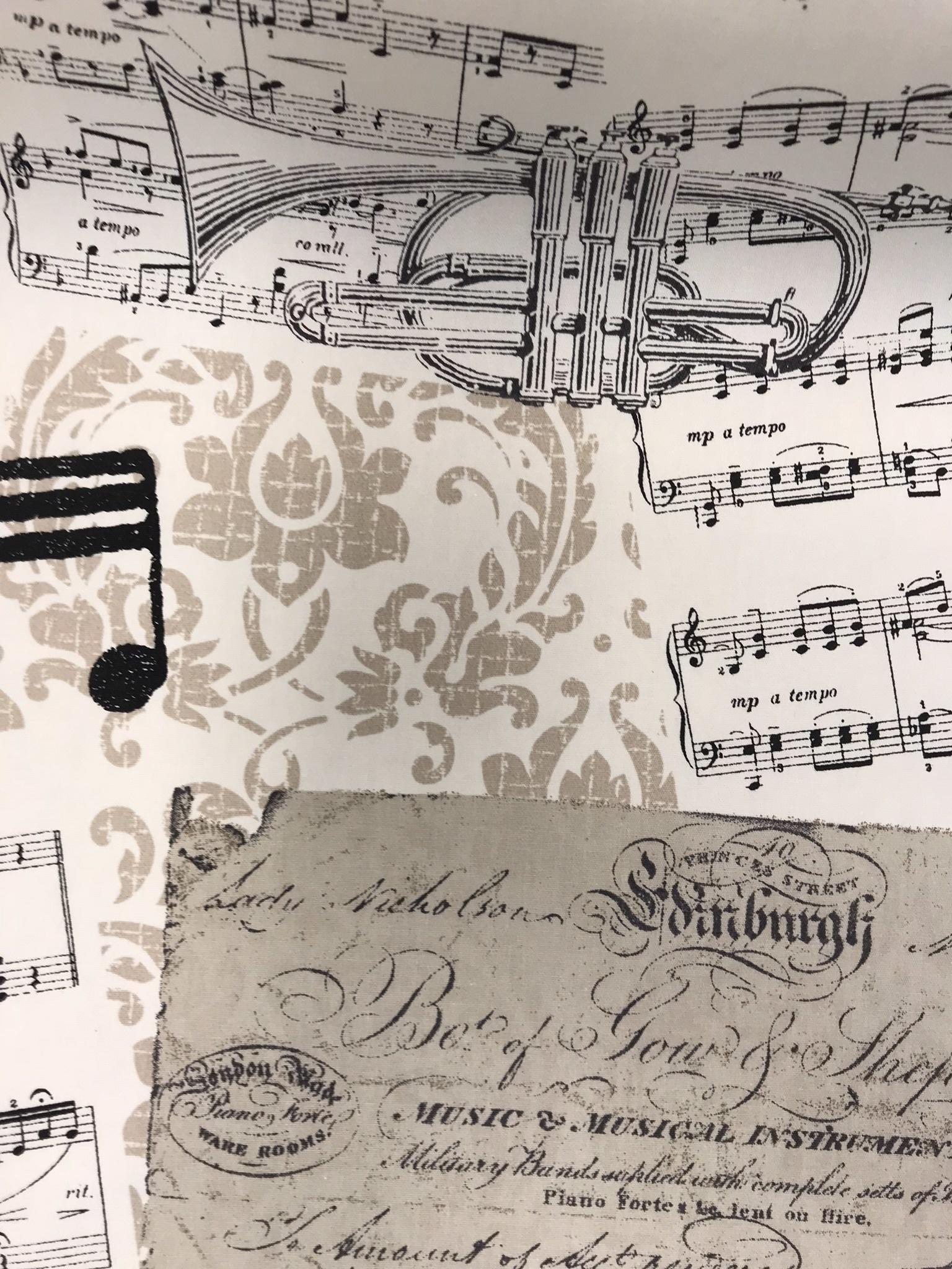 musik bomull tyg metervara noter instrument