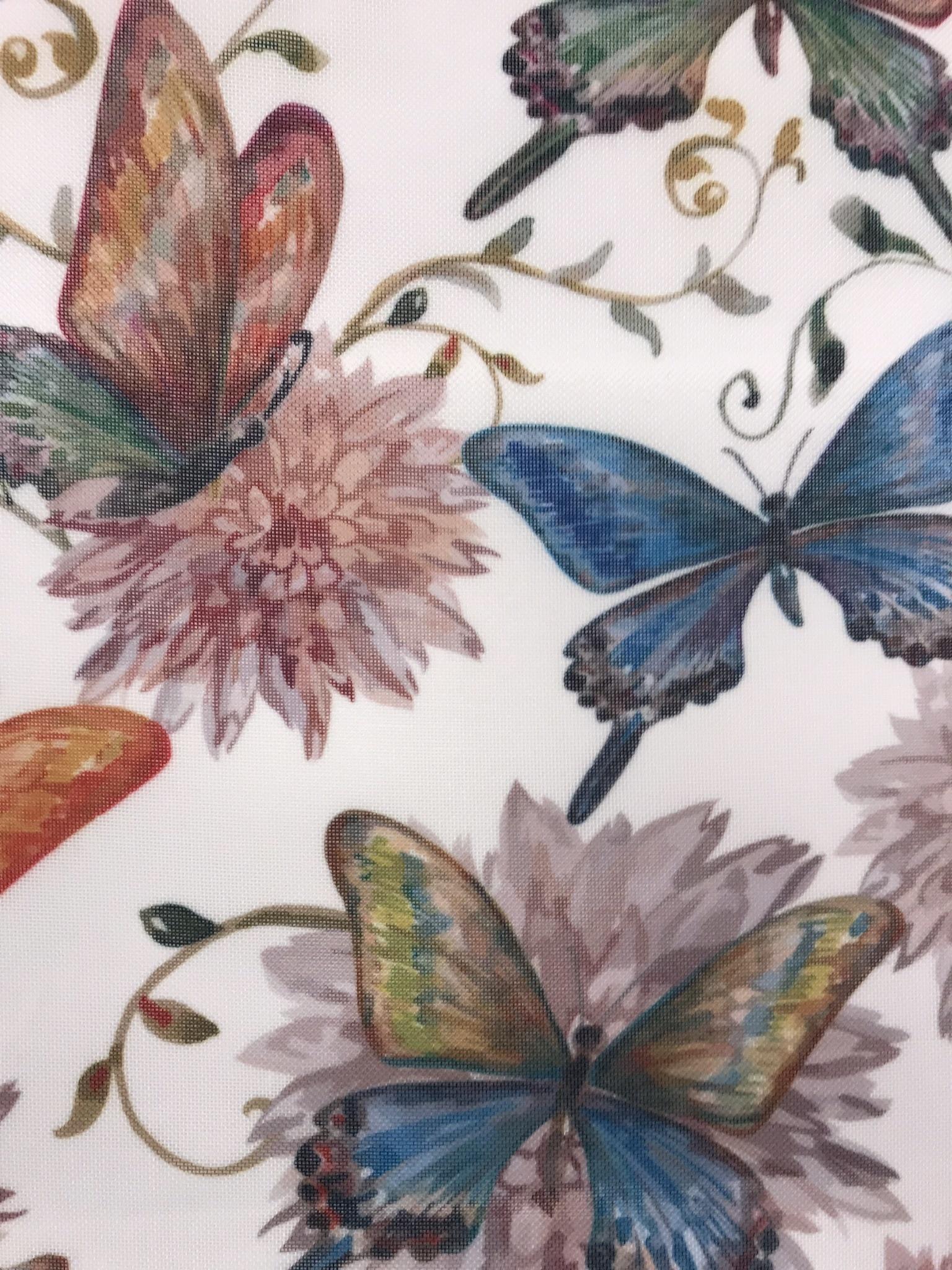 Glesvävt tyg fjärilar metervara gardin