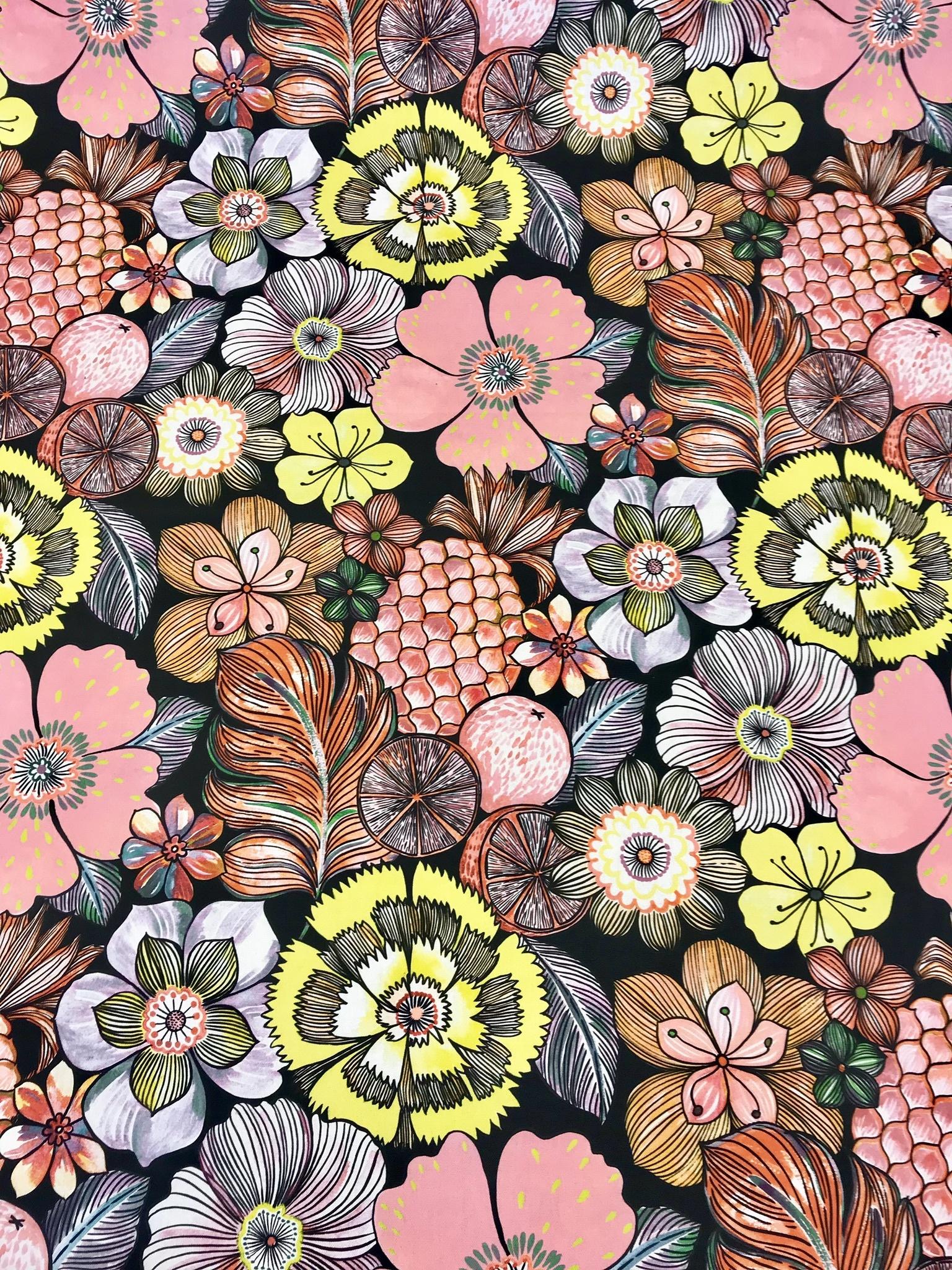 frukt blomma tropisk rosa svart metervara tyg mode hemtextil