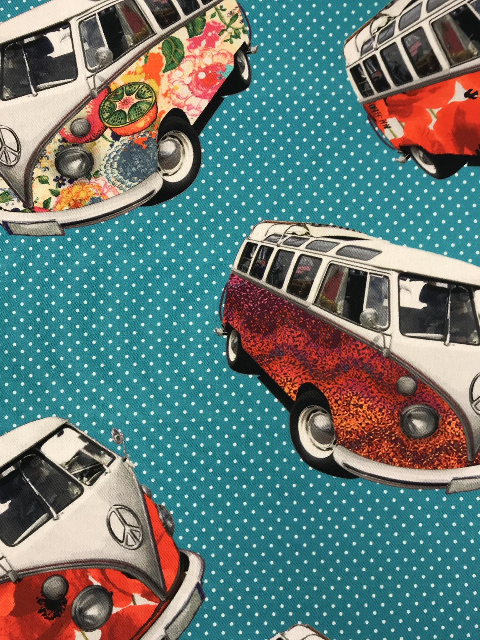 folkabuss retro VW turkos prickar vävt tyg metervara bomull