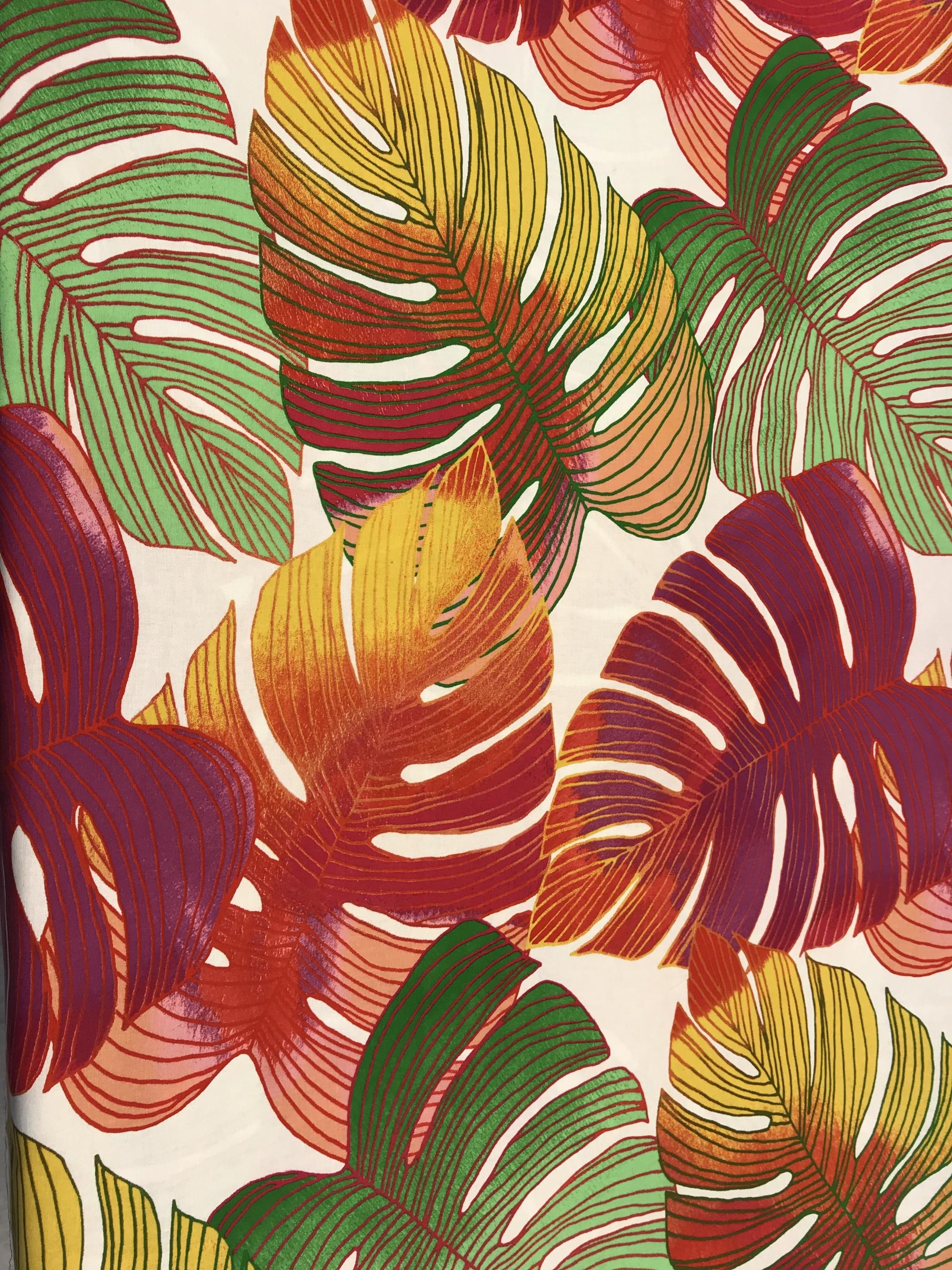 monstrea blad färgglad tyg bomull metervara mode hemtextil