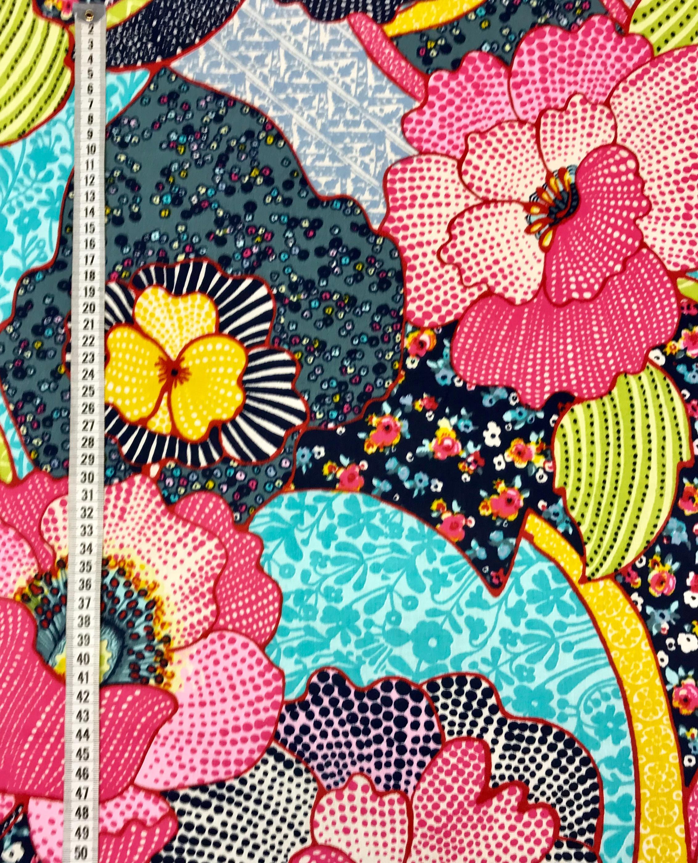 Fantasi stor blomma bomull vävt tyg metervara Tyglust