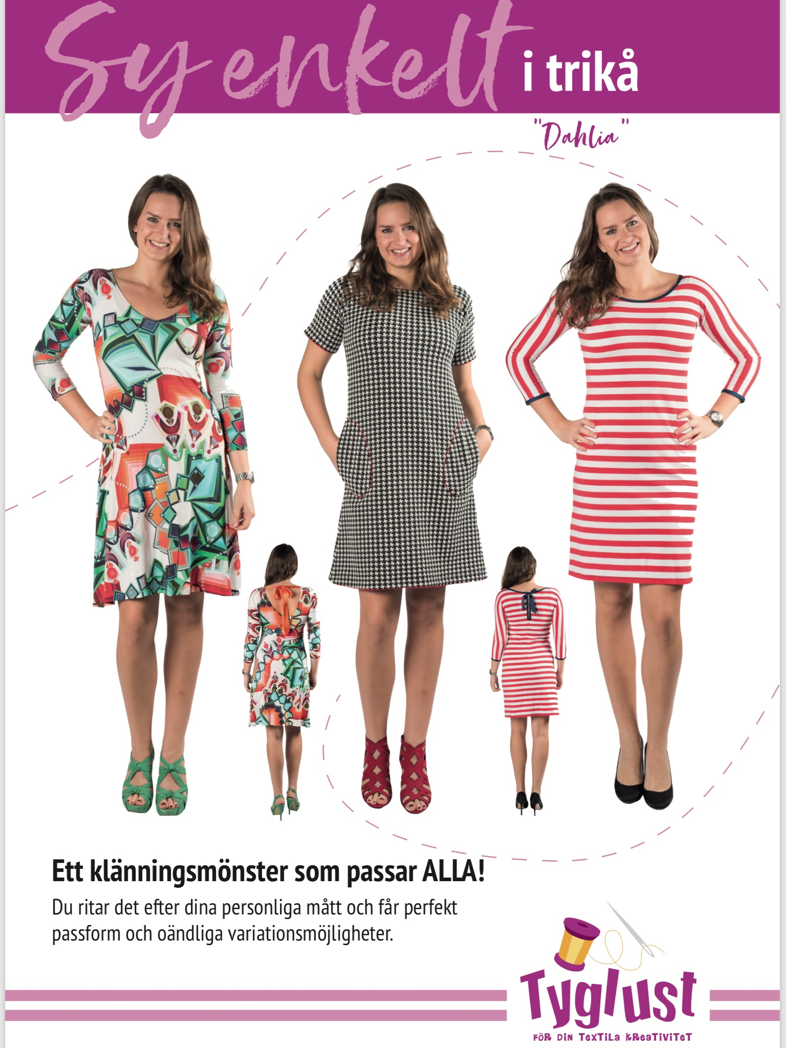 sy enkelt i trikå klänning tunika dahlia Tyglust mönster design