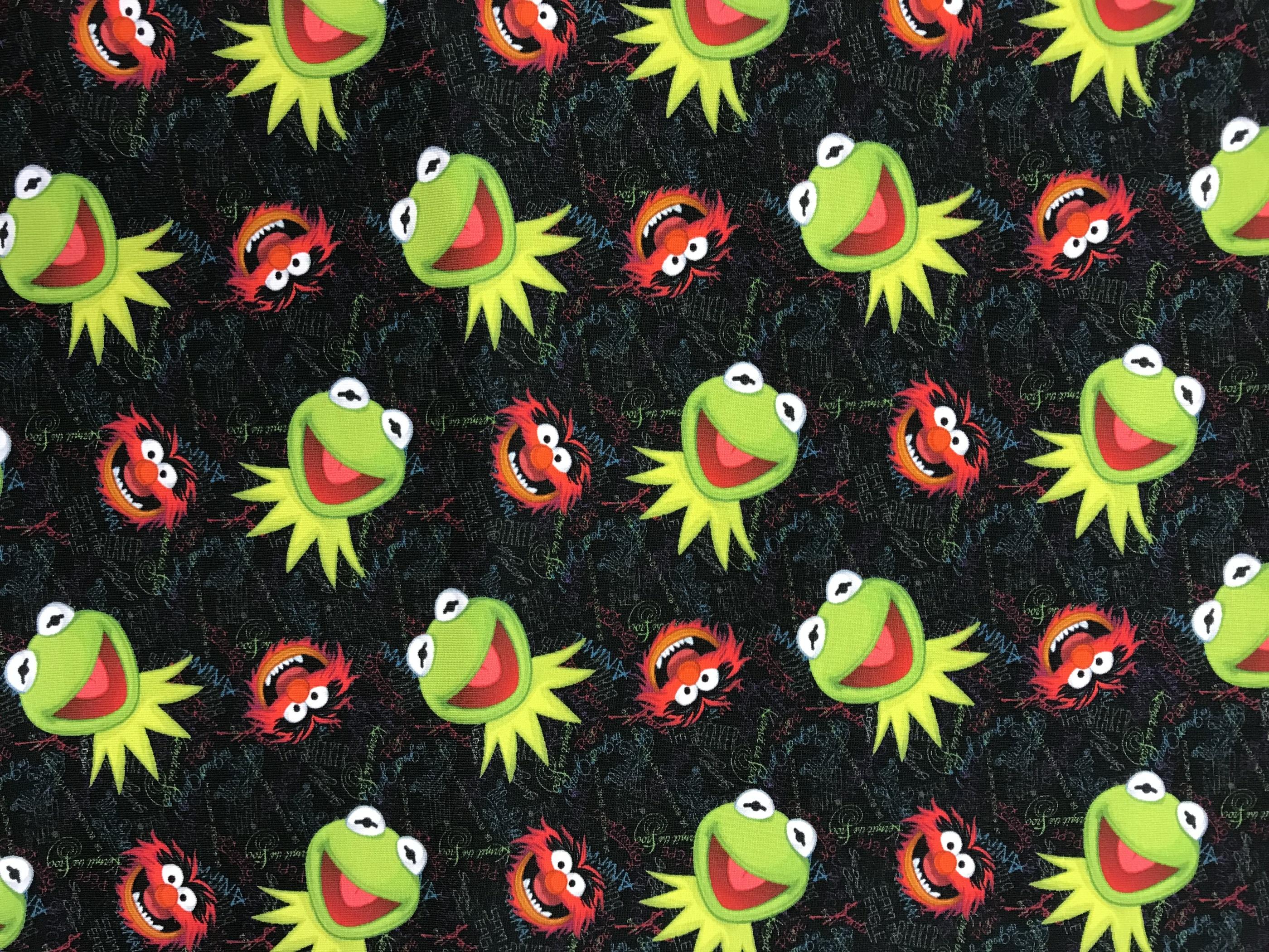 Kermit mupparna bomullstrikå trikå röd grön svart metervara