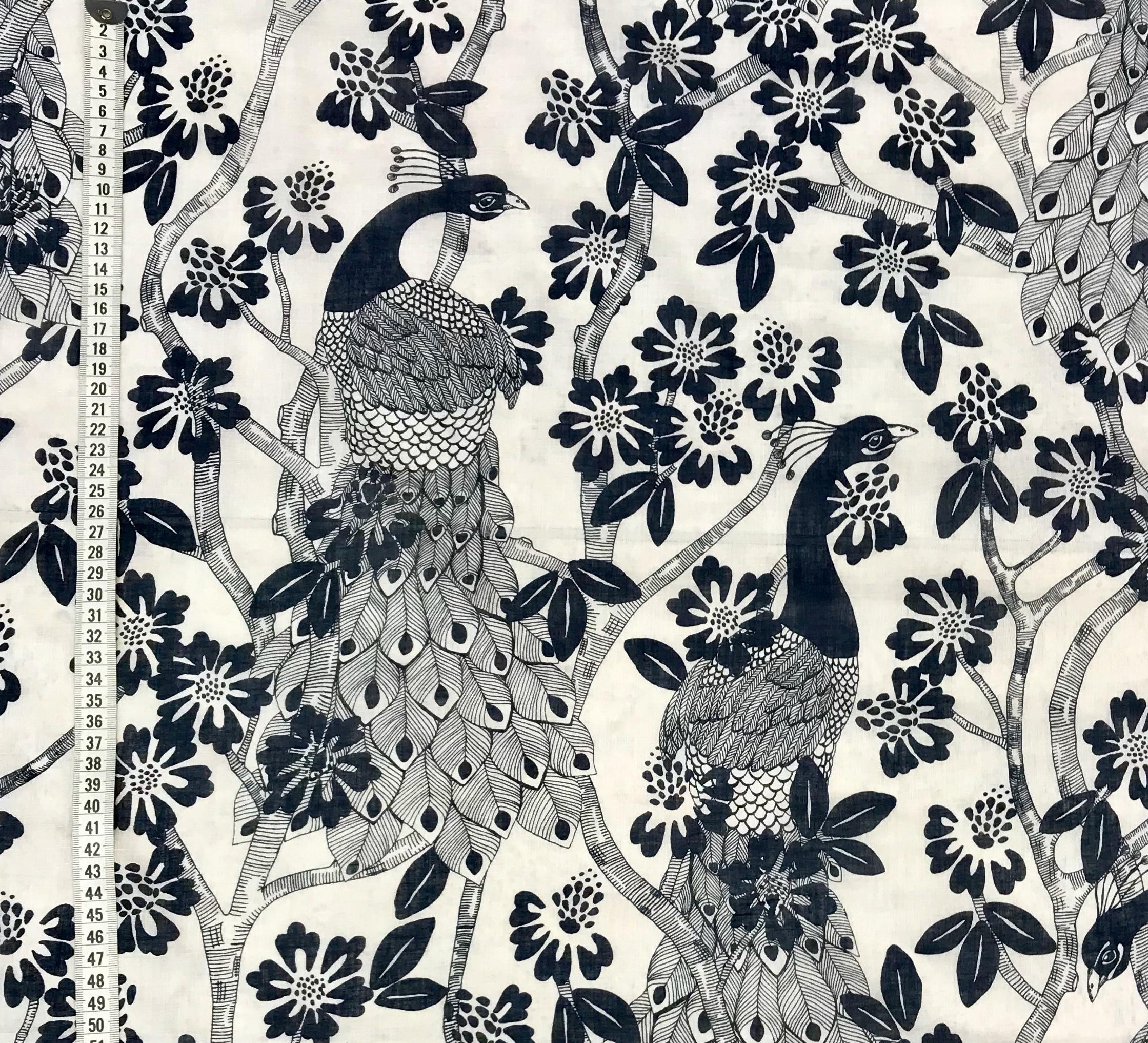 Påfågel blå tunt vävt tyg Tyglust bomull polyester metervara mode hemtextil