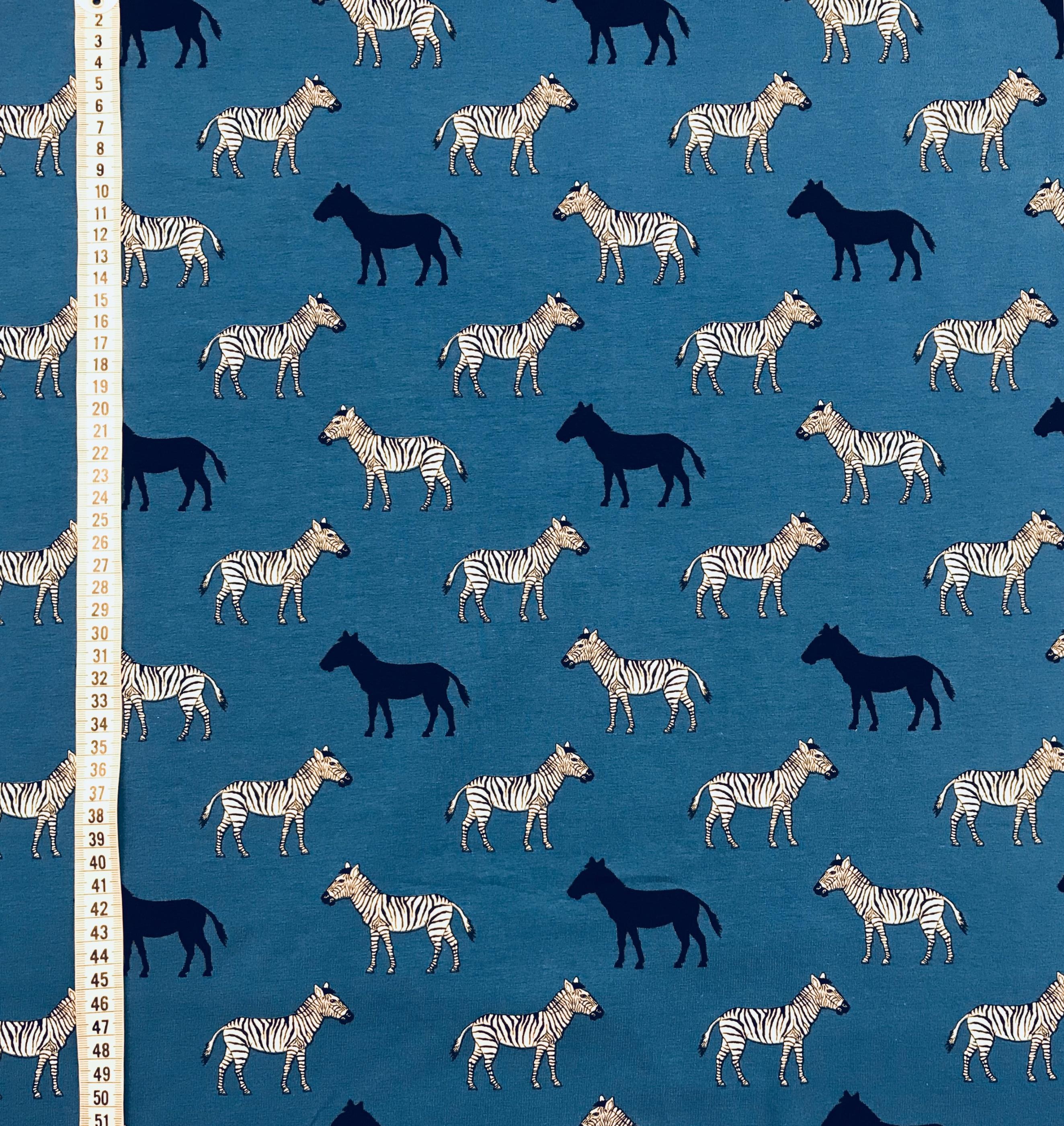 Blå zebra trikå tyg mode metervara