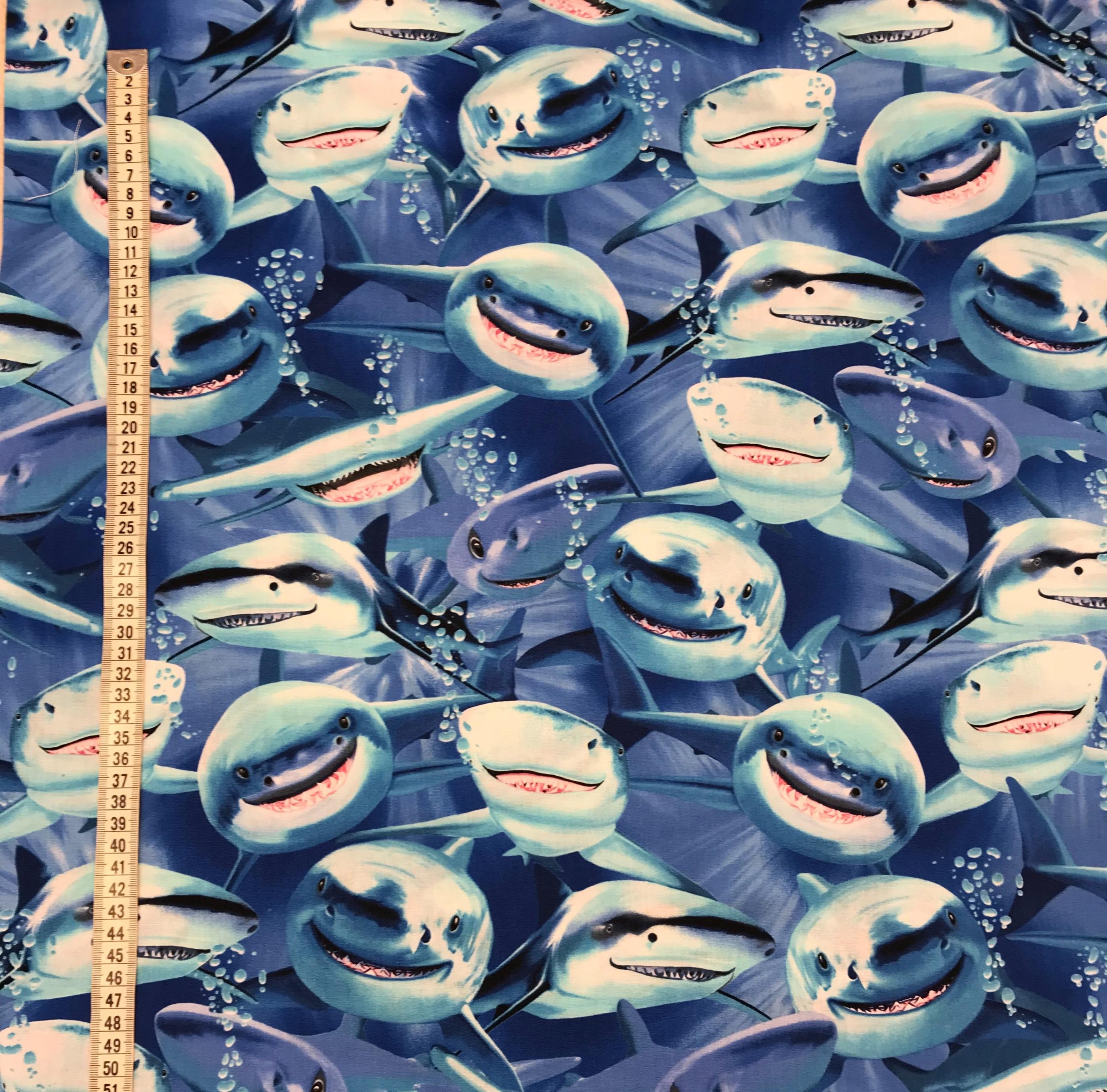 glada hajar bomull vävt tyg Tyglust