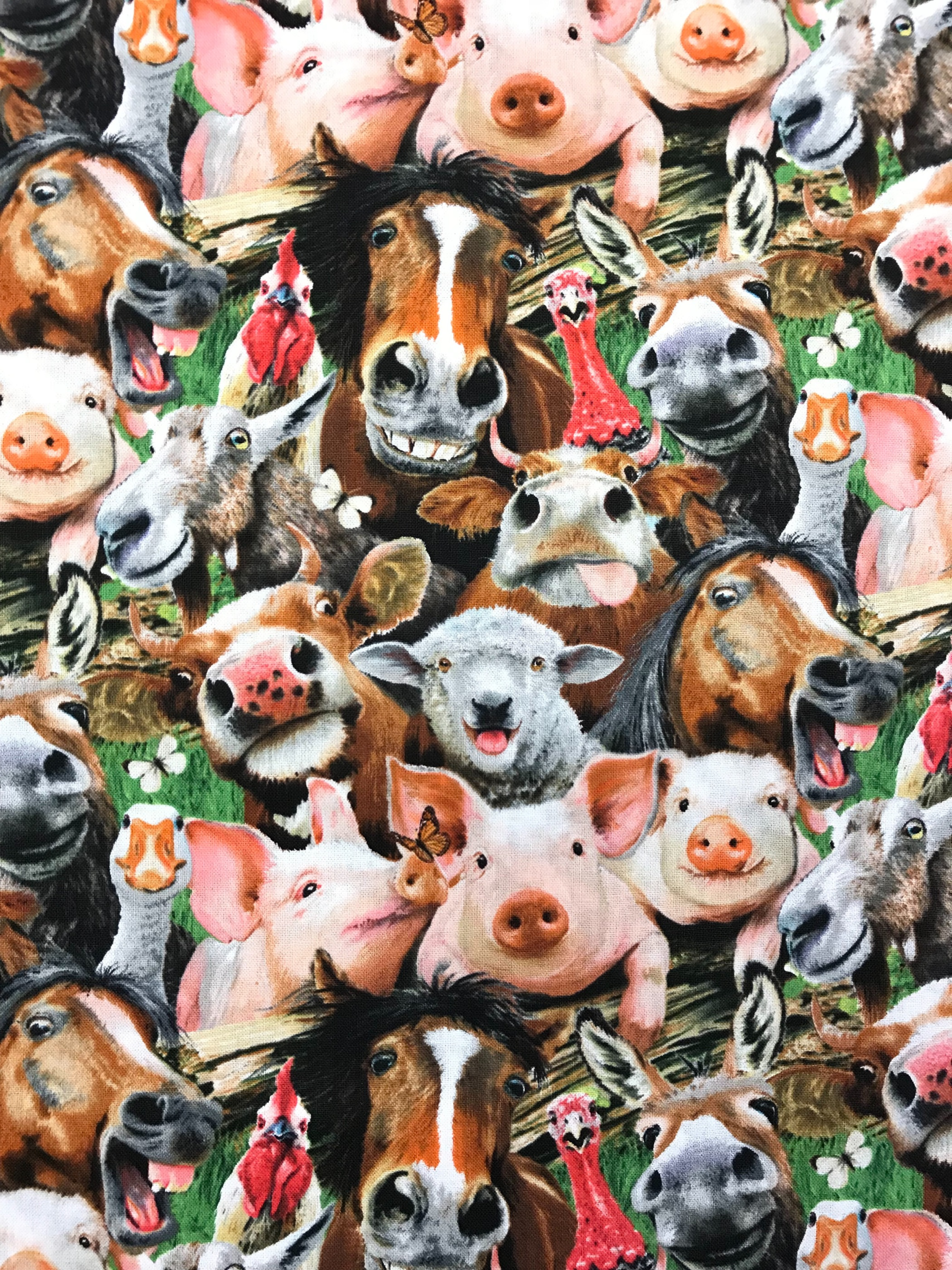 Tyglust tyg bomull selfie familjefoto djur bondgård foto