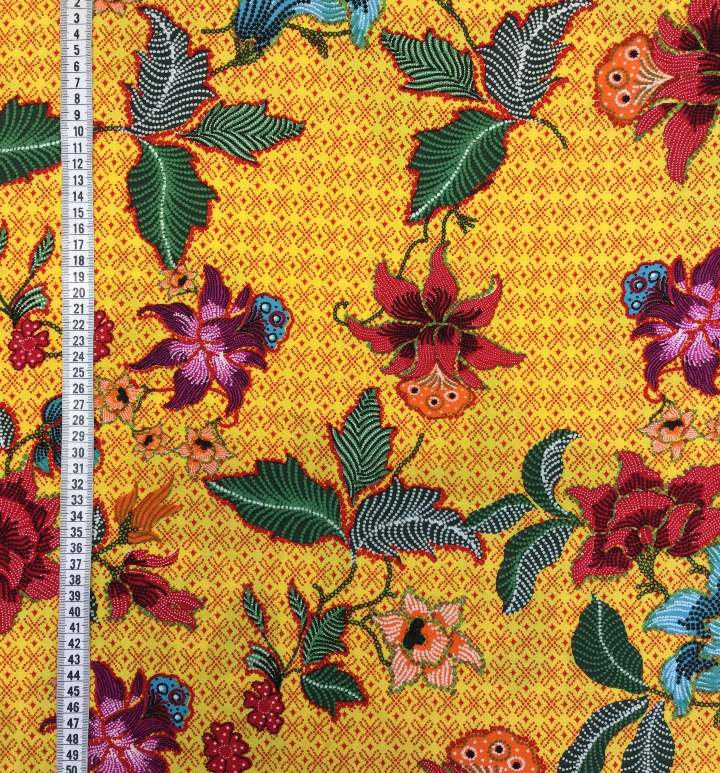 viskos tyg metervara gul blomma mode tyg tyglust