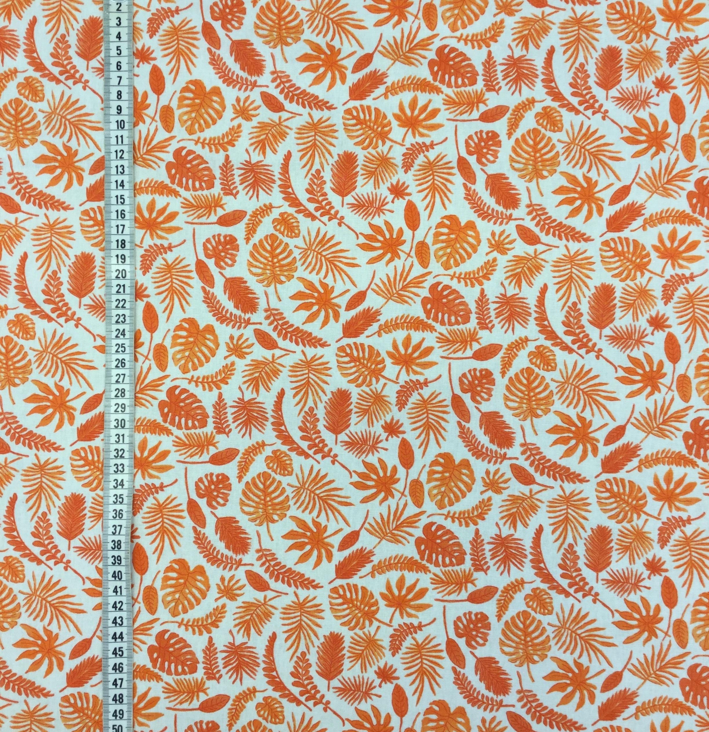 miniblad orange vävt tyg bomull metervara Tyglust