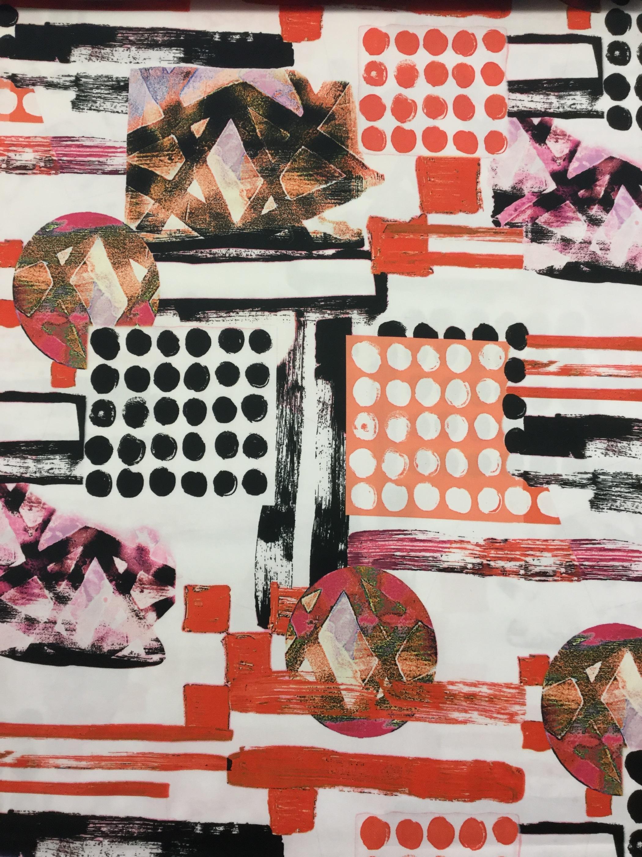 Modetyg orange svart metervara grafisk bomull