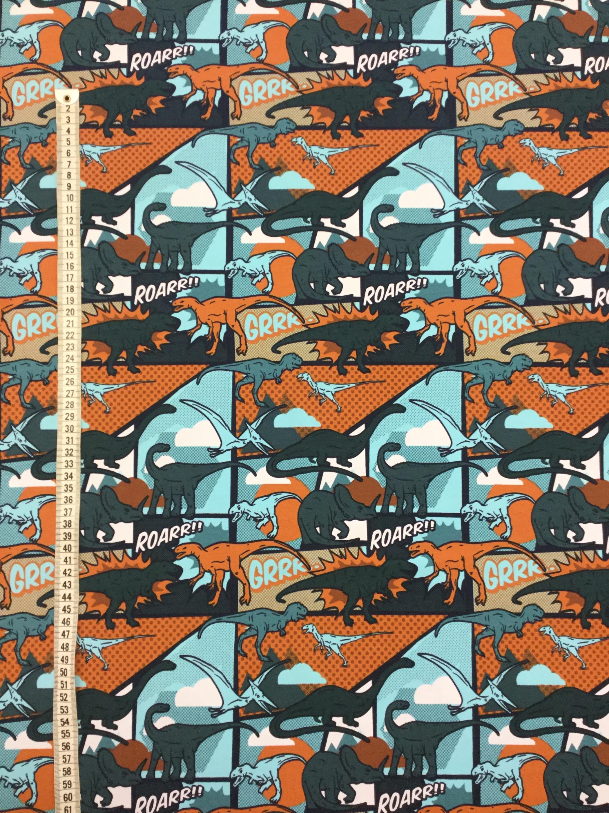 Trikåtyg dino dinosaurie serie serietidning metervara Tyglust