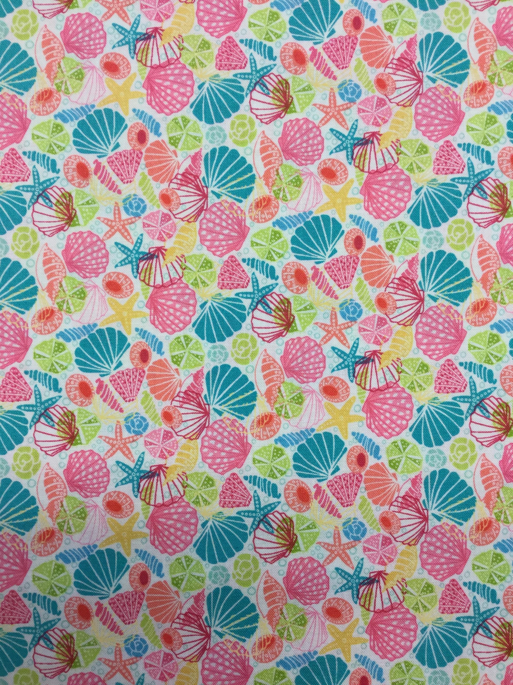 Snäckor seashell pastell bomull tyg metervara Tyglust