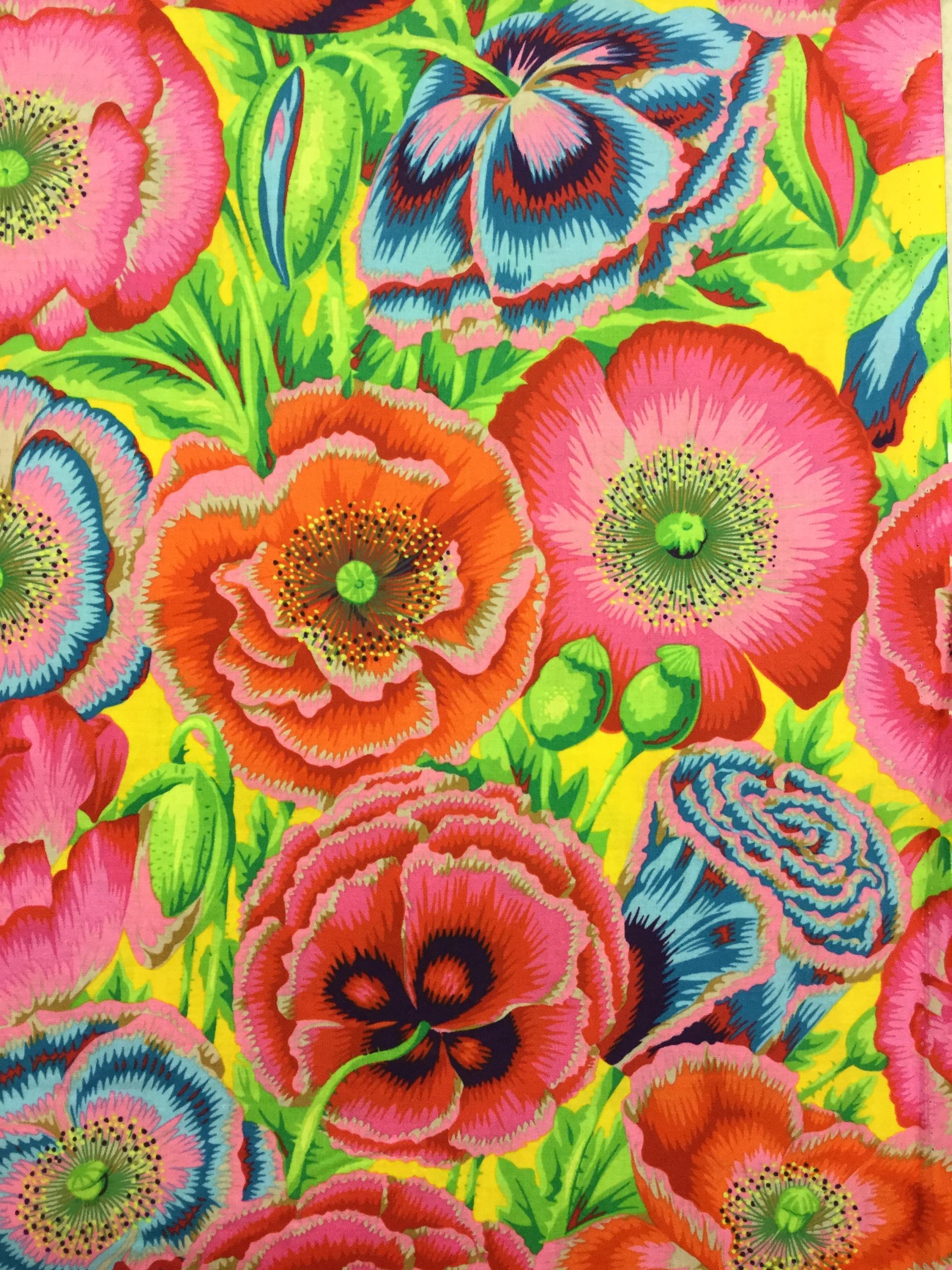 Anemon gul gult modetyg bomull metervara blommor Tyglust