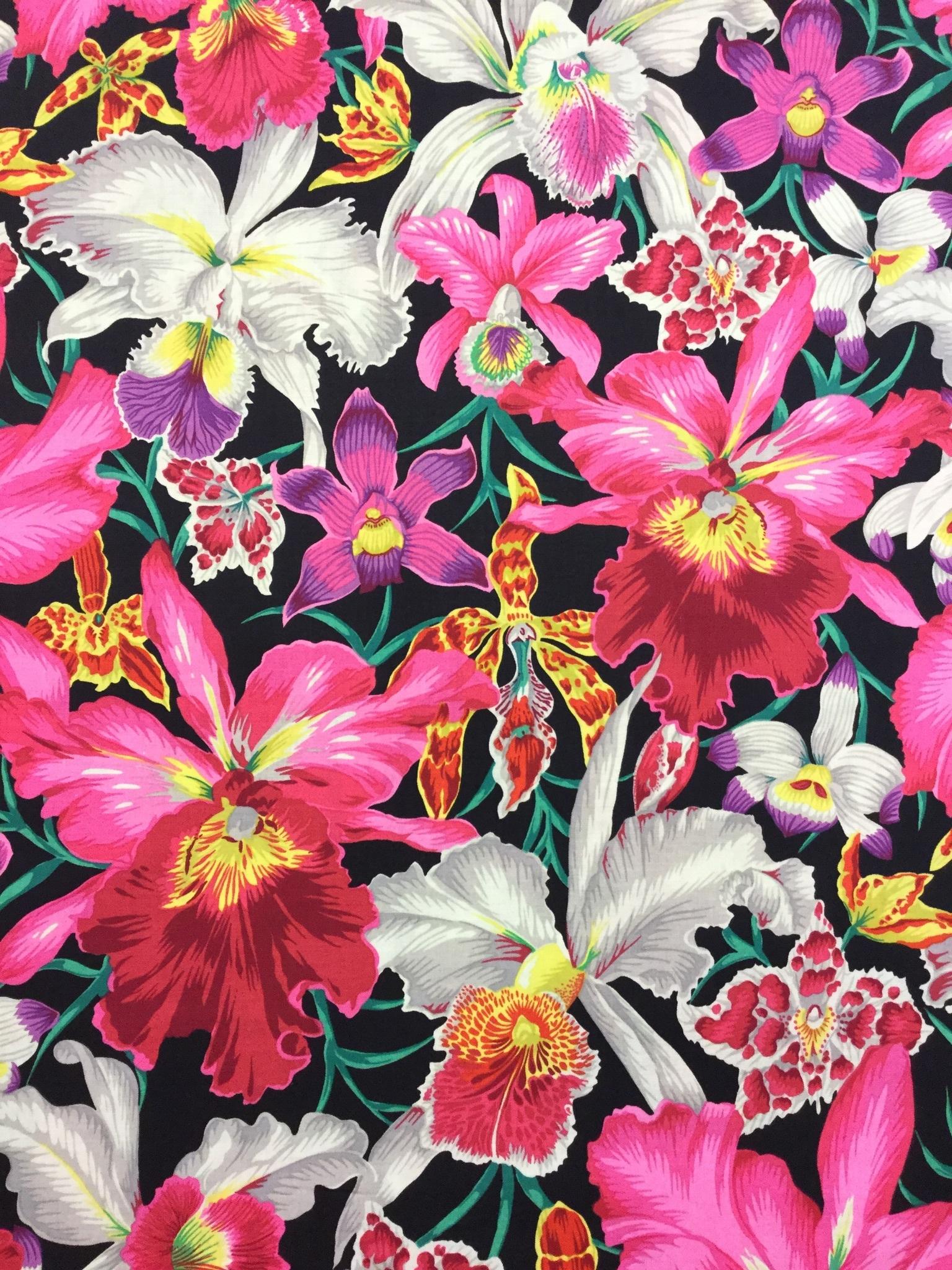 tigerlilja svart rosa blommor bomull metervara modetyg Tyglust