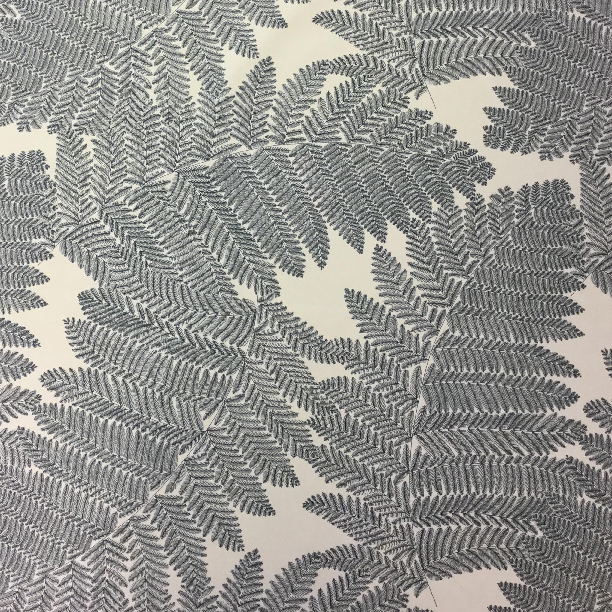 Ormbunke blad blå vit hemtextil tyg Tyglust