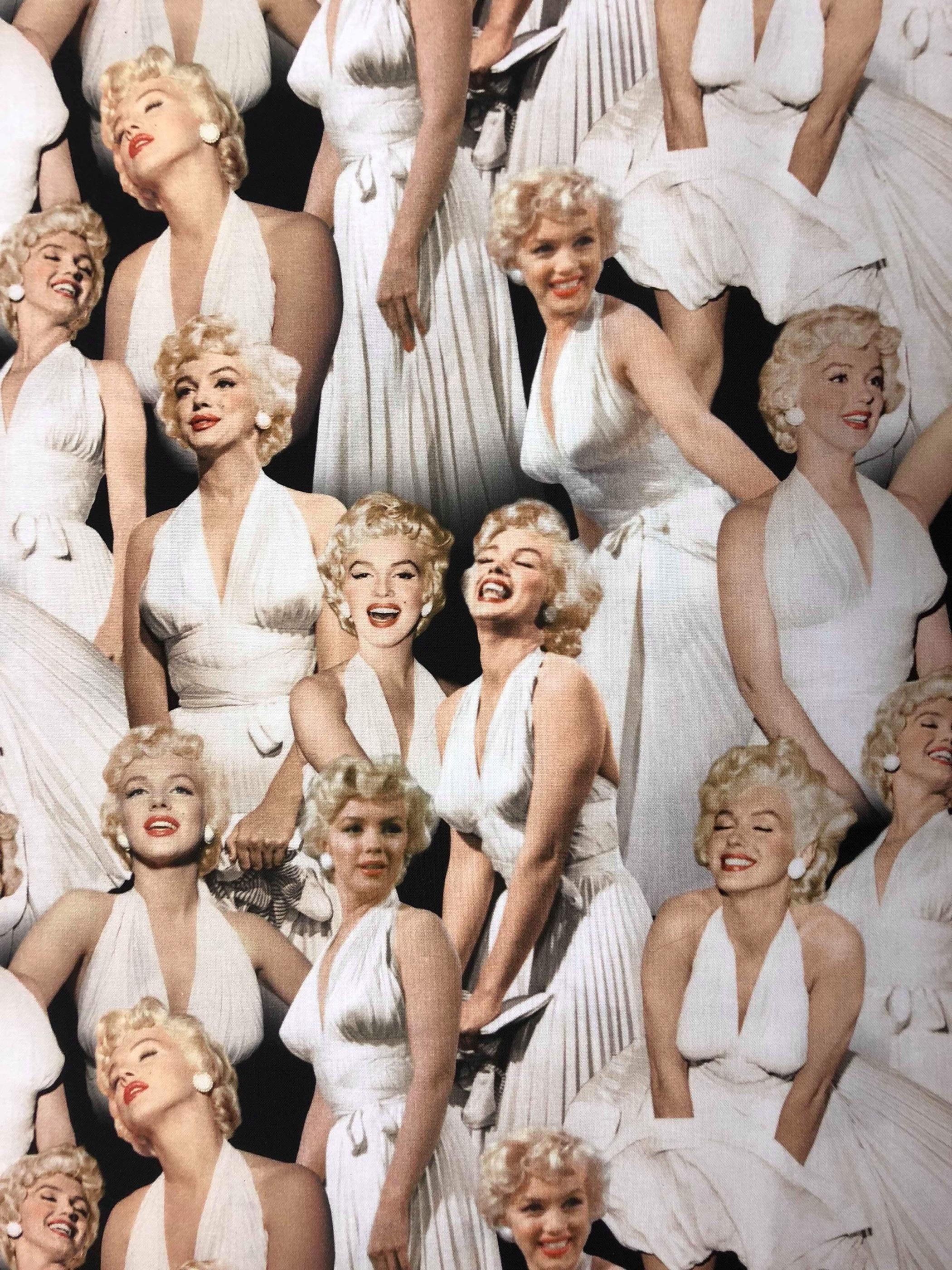 Marilyn Monroe bomullstyg metervara modetyg fototryck Tyglust
