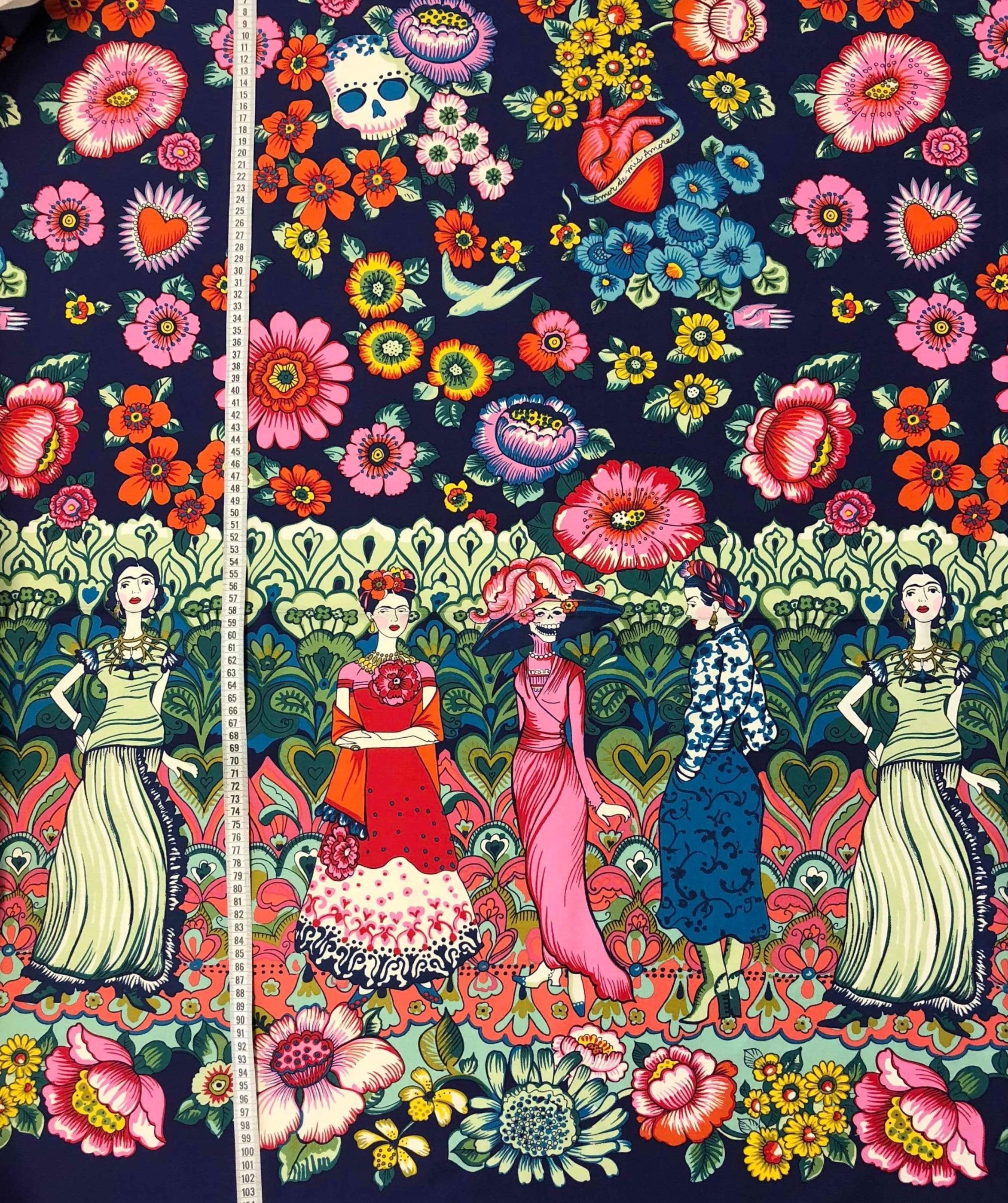Frida Kahlo bomullstyg metervara modetyg färg konst karaktär Tyglust Laholm
