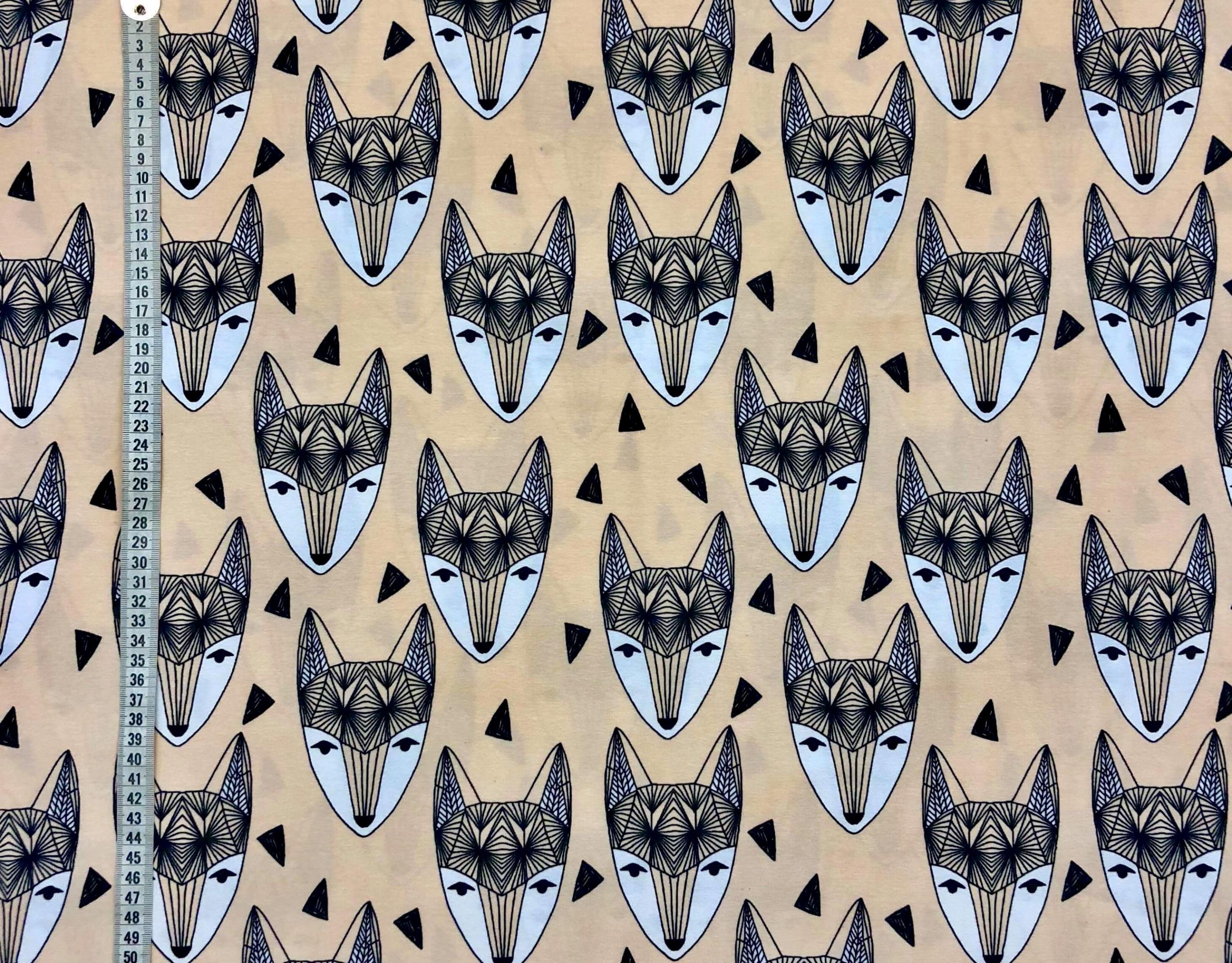 ljusrosa rävar räv grafisk trikå bomullstrikå metervara Laholm Tyglust