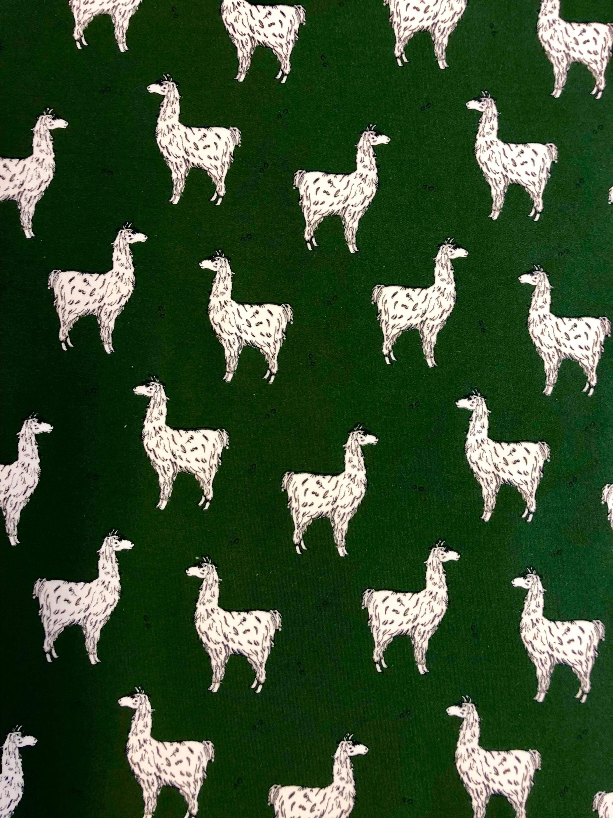 Grön lama lamadjur trikå bomullstrikå trikå metervara Tyglust Laholm