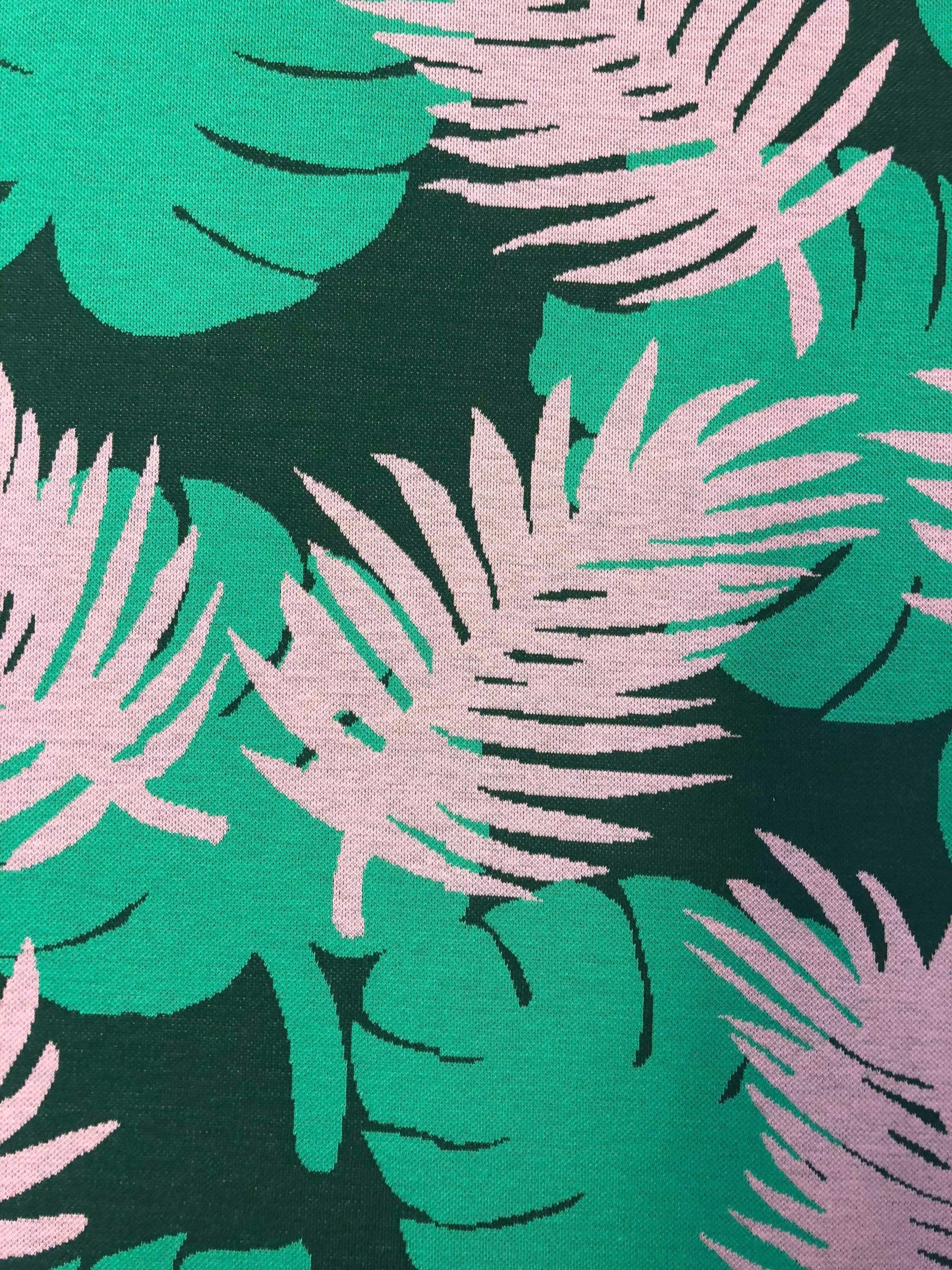 Jaquard bomull rosa grön monstrea modetyg metervara Tyglust Laholm